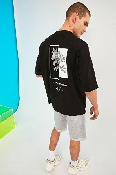 Siyah Erkek Oversize Bisiklet Yaka Baskılı Kısa Kollu T-Shirt TMNSS21TS1223