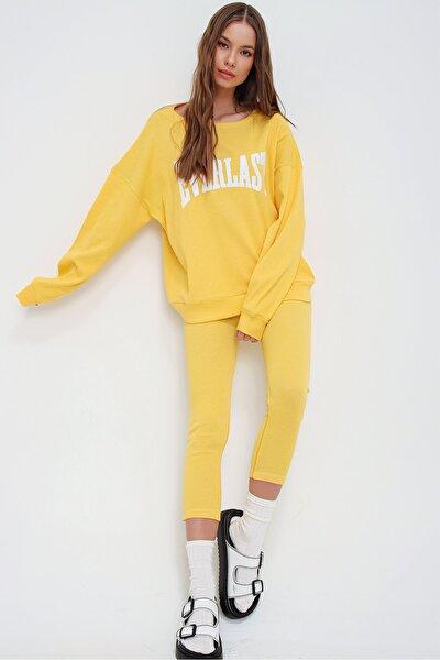 Kadın Sarı Sweatshirt Örme Tayt İkili Takım ALC-X5890