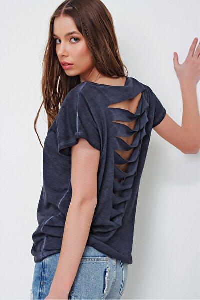 Kadın İndigo Lazer Kesimli Yağ Yıkamalı T-Shirt MDA-1118