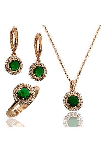 Kadın Yuvarlak Model Yaşil Taşlı Gümüş Üçlü Zirkon Set 2020017