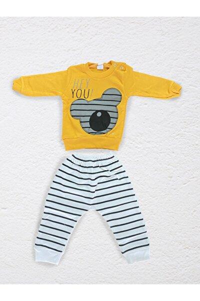 Erkek Bebek Sarı Baskılı Takım