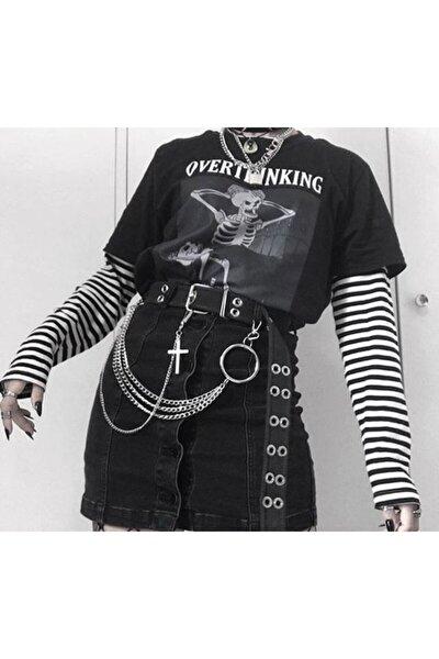 Unisex Siyah Beyaz Çizgili Overthinking Yazılı Kollu T-Shirt
