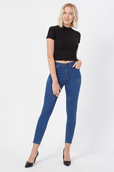Kadın Dar Paça Yüksek Bel Kot Pantolon