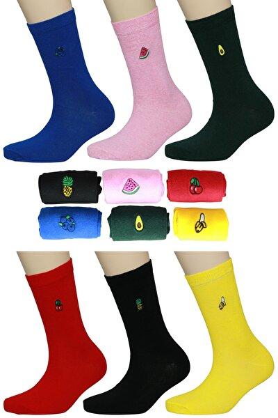 6'lı Meyveler Nakışlı Renkli Çorap