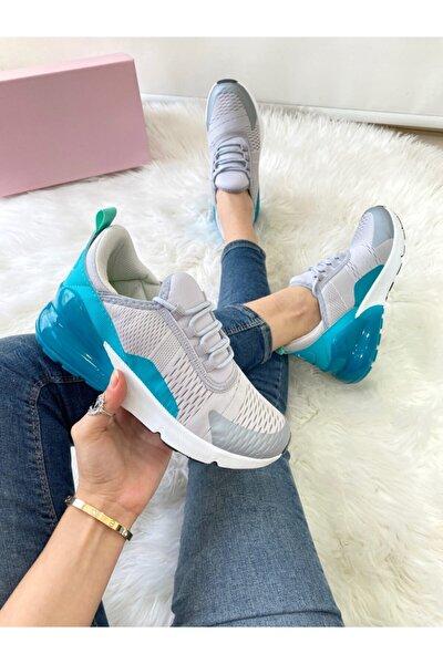 Kadın Grı Mavı Spor Ayakkabı