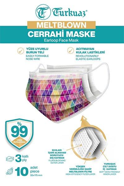 Desenli 10 Adet Cerrahi Maske 3 Kat Meltbrown Burun Telli Yumuşak Elastik Lastikli Mozaik