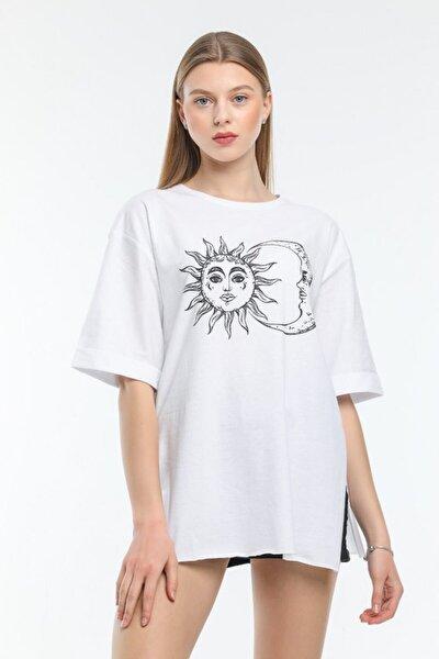 Ay/güneş Baskılı Basic Salaş T-shirt