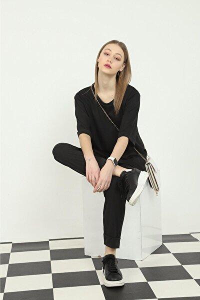 Kadın Siyah Duble Kol Oversize Yandan Yırtmaçlı Tişört Beli Lastikli Pantolon Ikili Takım