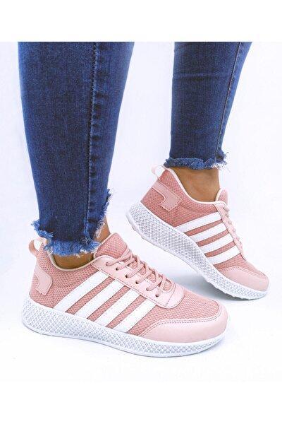 Kadın Günlük Ayakkabı Sneaker File Detaylı Pembe