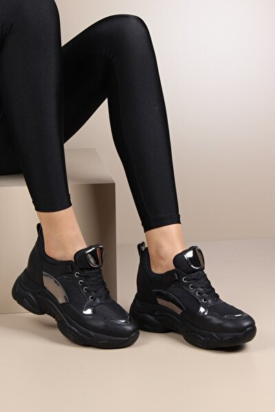 Gizli Topuklu Siyah Günlük Kadın Sneaker Spor Ayakkabı