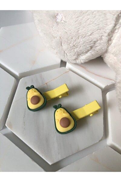 Avokado Meyve Desen Avokadolu Desenli 2li Çocuk Pens Yan Toka