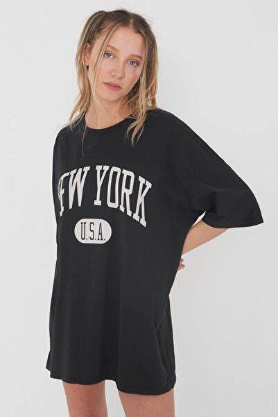 Yazı Detaylı Oversize T-shirt P9413 - D13