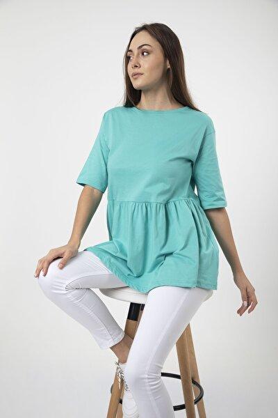 Kadın Turkuaz Volanlı Geniş Kesim Basic Örme T-shirt