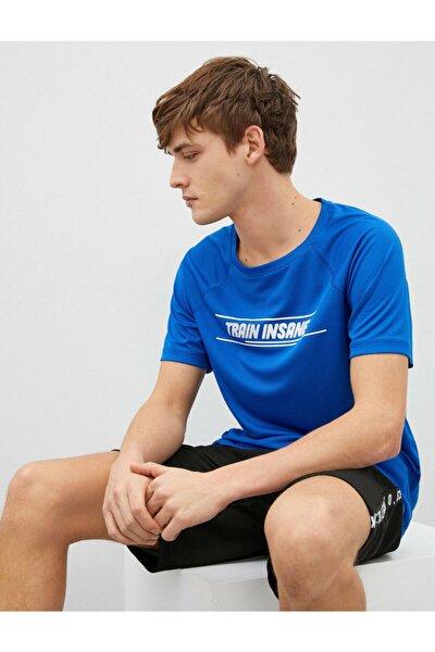 Erkek Mavi Baskılı Kısa Kollu Bisiklet Yaka T-Shirt