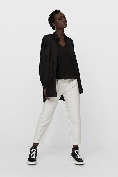 Kadın Siyah Saten Gömlek