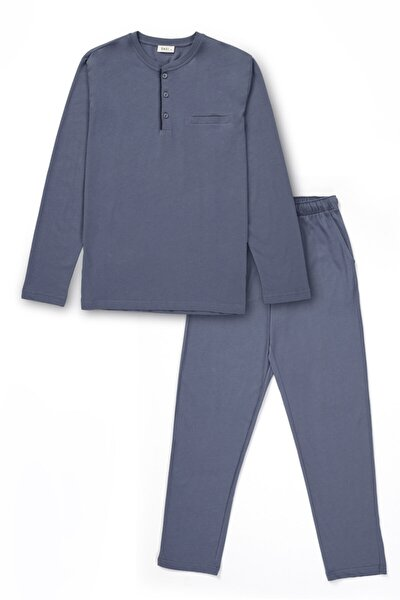 Erkek İndigo Pamuk Düğmeli Pijama Takımı