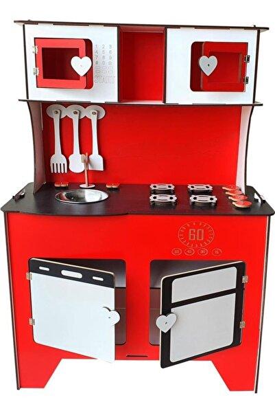 104 cm Çocuk Odası Ahşap Mutfak Montessori Oyuncak Dolabı Kırmızı Zeytindalı Oyunevi