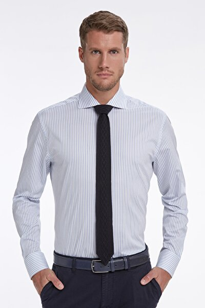 Mavi Beyaz Çizgili Business Gömlek