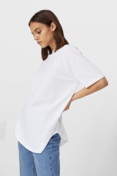 Kadın Beyaz Uzun Basic T-shirt