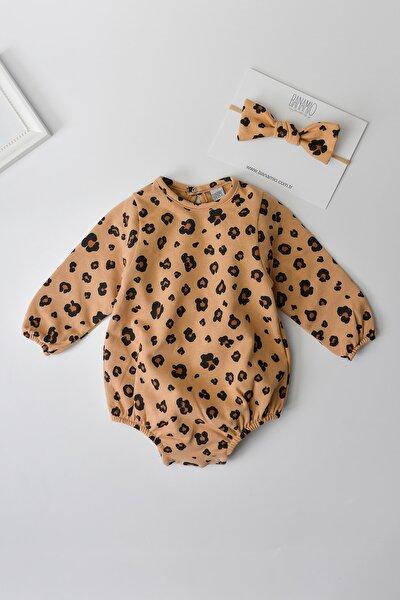Kız Bebek Çocuk Leopar Desenli Pamuklu Romper Tulum (karamel)