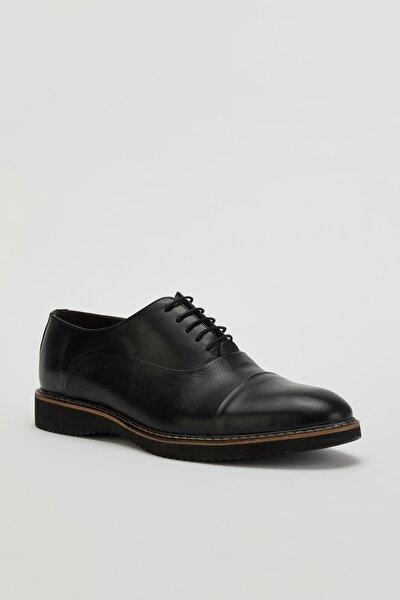 Erkek Siyah Klasik Hakiki Deri Ayakkabı Mgtorino01
