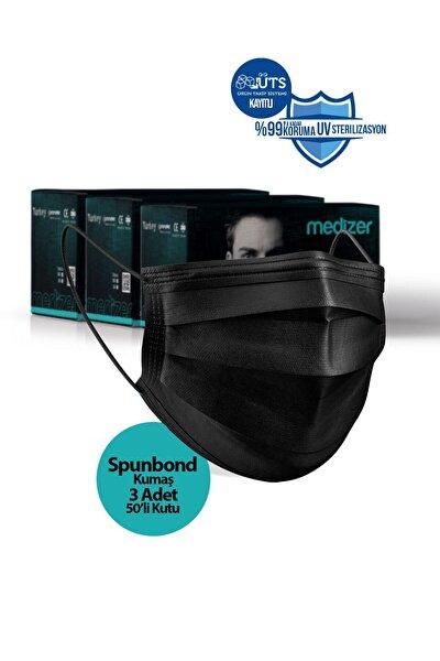 Medizer Full Ultrasonik Cerrahi Ağız Maskesi 3 Katlı Spunbond Kumaş 150 Adet - Burun Telli - Siyah