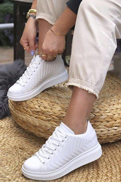 Kadın Beyaz Dikişli Spor Ayakkabı