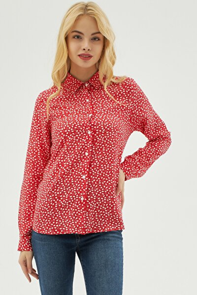 Kadın Kırmızı Kalp Desenli Viskon Uzun Kollu Gömlek