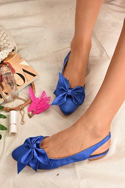 Kadın Saks Mavi Kumaş Babet H726809004