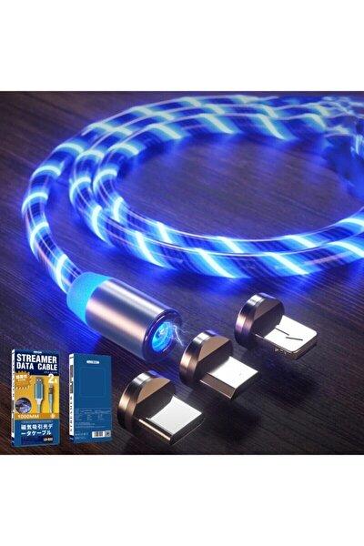 Optik Full Işıklı Mıknatıslı Örgülü Kablo 3in1 Type C Microusb Iphone 3'bir Arada Hızlı Şarj