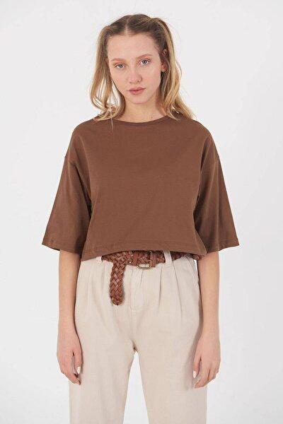Kadın Kahve Basic T-Shirt B112 - J8 Adx-0000023873