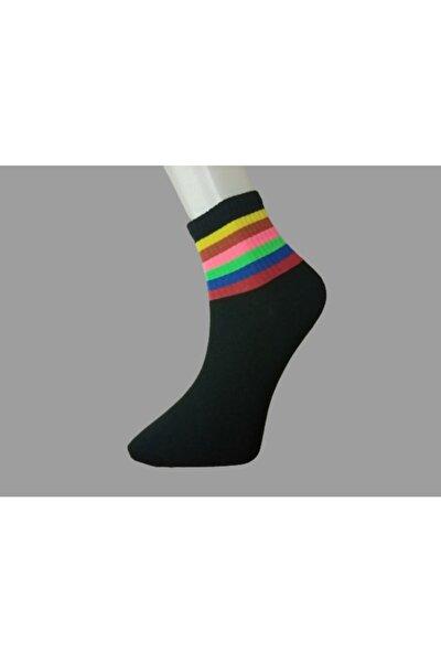 Unisex Siyah Rengarenk Desenli Çorap