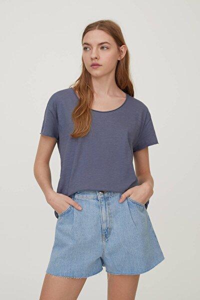 Kadın Çelik Mavi Biyeli Dikişli Basic T-Shirt 05236307
