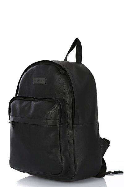 Unisex Siyah Suni Deri Iç Laptop Gözlü Ve Cepli Sırt Ve Laptop Çantası(15')