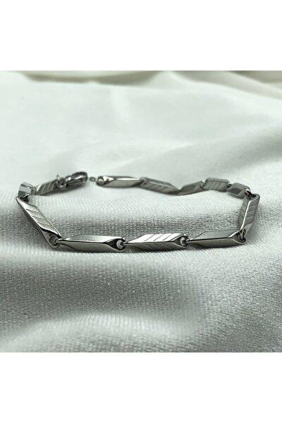 Gümüş Renk Desenli Model Çelik Erkek Bileklik Bb1199