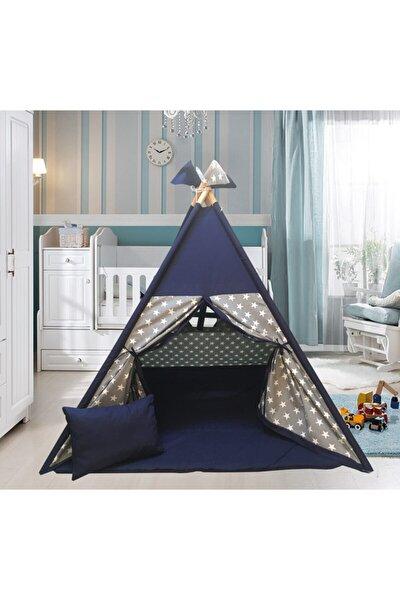 Unisex Gri Yıldızlı Ahşap Çocuk Çadırı