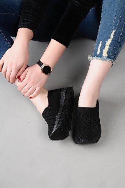 Kadın Siyah Örgülü Triko Spor Ayakkabı
