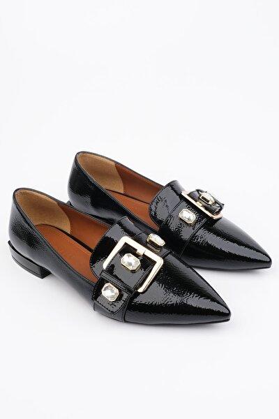 Kadın Siyah Rugan Loafer Ayakkabı Ronle