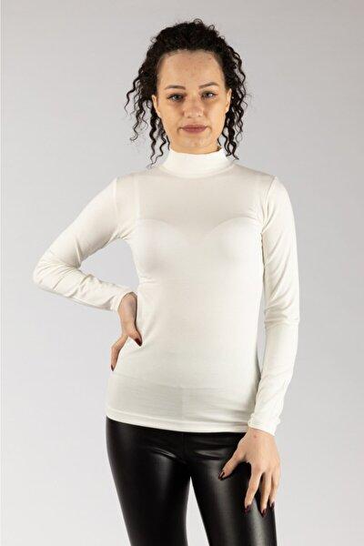 Kadın Beyaz Uzun Kollu Likralı Penye Body