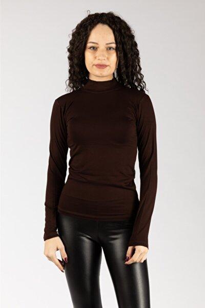 Kadın Kahverengi Uzun Kollu Likralı Penye Body
