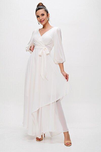 Kadın Kruvaze Balon Kollu Uzun Şifon Elbise Krem