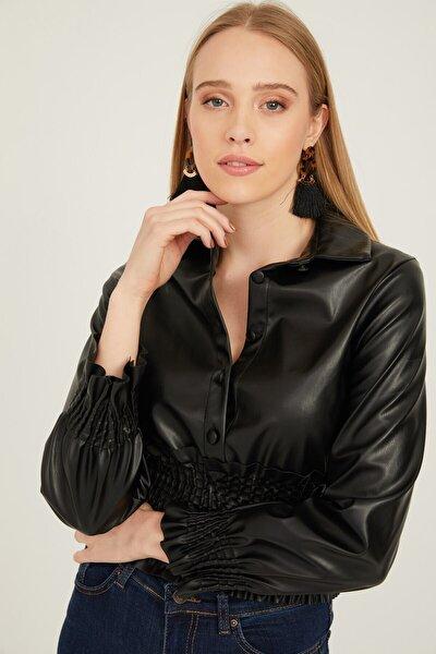 Önü Düğmeli Kolu Ve Eteği Gipe Lastikli Deri Bluz Siyah