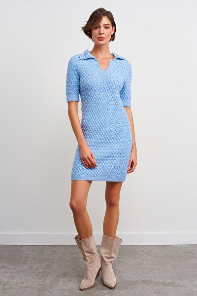 Polo Yaka Simli Triko Elbise-mavi