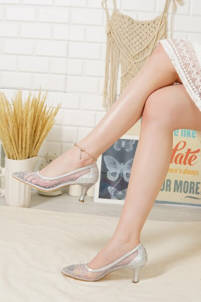Kadın Gümüş Topuklu Sindirella Abiye Ayakkabı