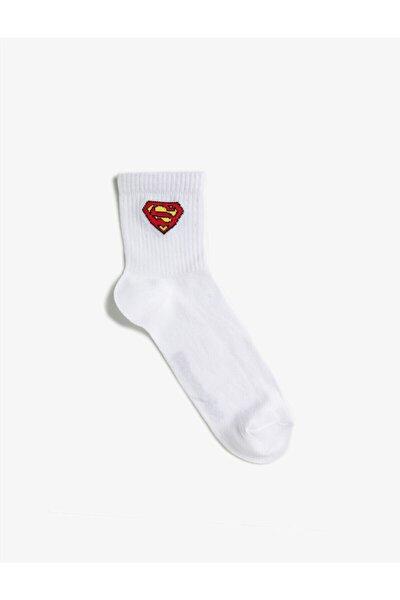 Erkek Superman Çorap Desenli Pamuklu Lisansli