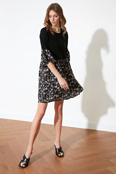 Siyah Çiçekli Elbise TWOSS21EL1540