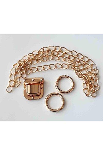 Light Gold Renk Ince Zincir Kare Kilit Set