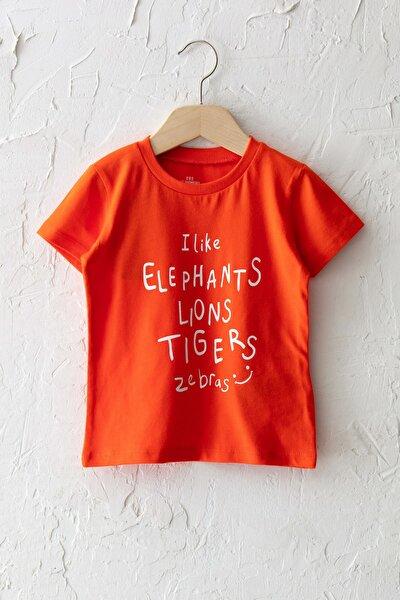 Erkek Bebek Canlı Turuncu Grm T-Shirt
