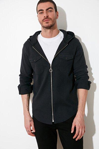 Siyah Erkek Armürlü Kapüşonlü Regular Denim Gömlek TMNSS20GO0105