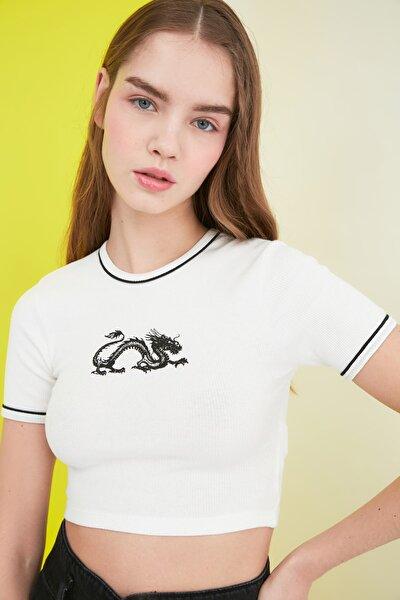 Beyaz Baskılı Super Crop Fitilli Örme Bluz TWOSS21BZ1173